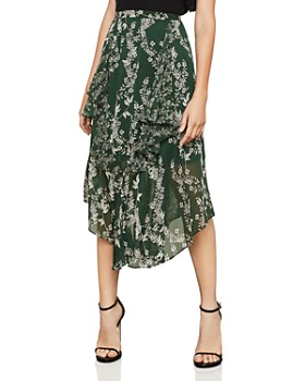 BCBGMAXAZRIA - Botanical Print Asymmetric Skirt