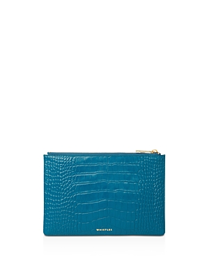 Whistles Matte Croc-Embossed Small Leather Clutch