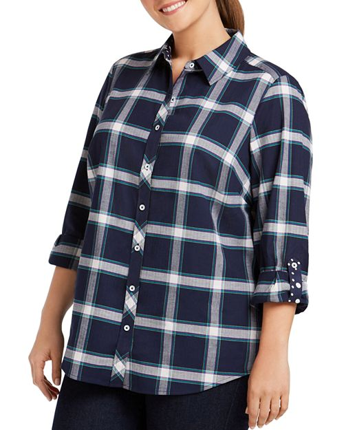 Foxcroft Plus - Zella Windowpane Button-Down Shirt