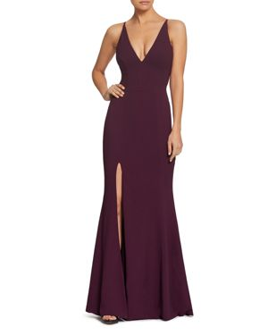 DRESS THE POPULATION IRIS PLUNGING MERMAID GOWN