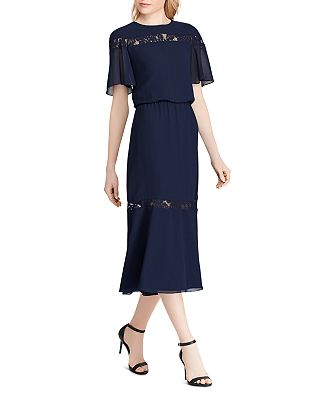 Ralph Lauren - Lace-Inset Chiffon Dress