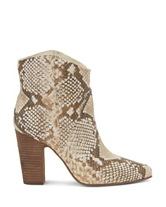 VINCE CAMUTO - Women's Creestal Almond Toe Snakeskin-Embossed Leather Booties