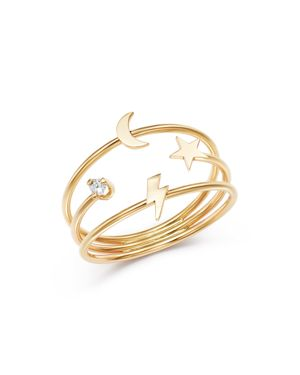Zoe Chicco 14K Yellow Gold Itty Bitty Lightning Bolt, Moon & Star Diamond Three-Band Ring