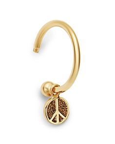 Zoë Chicco - 14K Yellow Gold Tiny Peace Sign Charm Huggie Hoop Earring