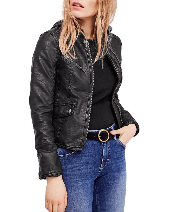 Free People - Monroe Hooded Faux-Leather Jacket