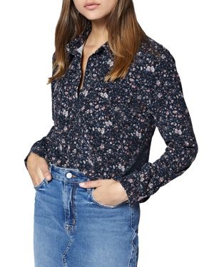 Work Floral Button-Down Cotton Shirt in Blue