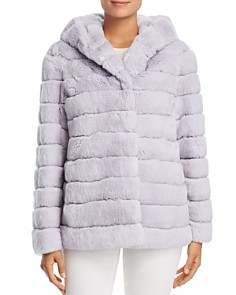 Maximilian Furs - Hooded Rabbit Fur Coat - 100% Exclusive