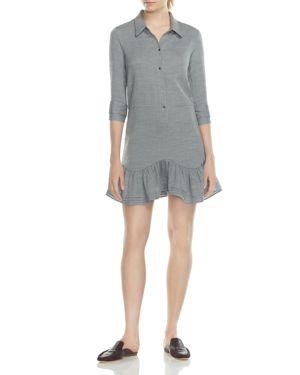 Halston Heritage Flounced Front-Button Shirt Dress