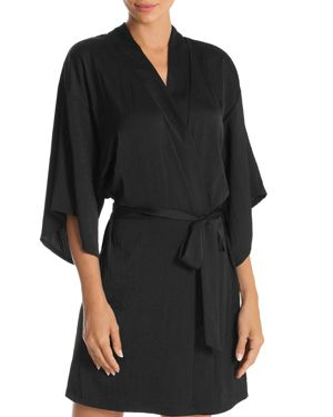 MIDNIGHT BAKERY Floral & Sequin Back Short Robe in Black