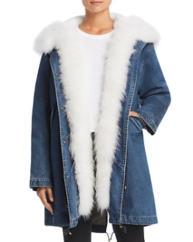 Maximilian Furs - Fur Trim Denim Down Parka - 100% Exclusive