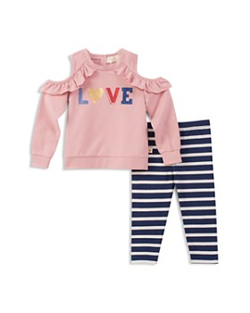 kate spade new york - Girls' Ruffled Cold-Shoulder Love Sweatshirt & Striped Leggings Set - Baby
