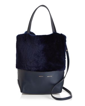 ALICE.D Small Leather & Shearling Tote - 100% Exclusive in Navy/Gold