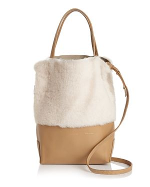 ALICE.D Small Leather & Shearling Tote - 100% Exclusive in Camel/Cream/Gold
