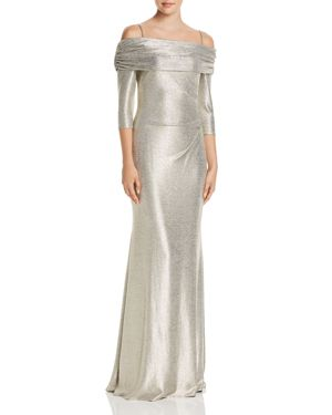 AVERY G Off-The-Shoulder Metallic Knit Column Gown in Light Gold