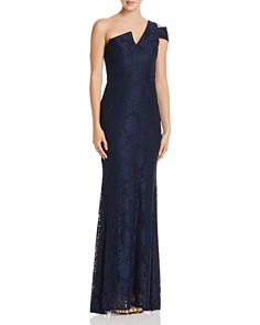 AQUA - Lace Cutout One-Shoulder Gown - 100% Exclusive