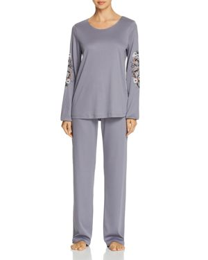 HANRO JANA EMBROIDERED LONG SLEEVE COTTON PAJAMA SET