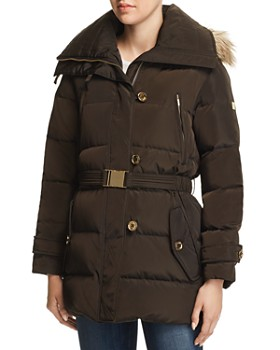MICHAEL Michael Kors - Belted Button-Front Puffer Coat