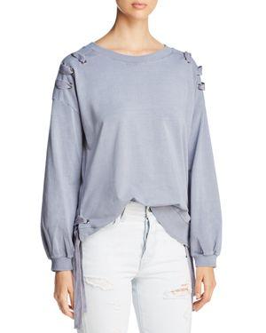 BILLY T Side Lace-Up Sweatshirt in Grey