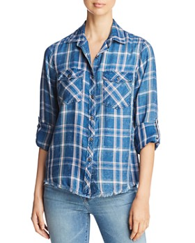 Billy T - Lace-Up Plaid Shirt