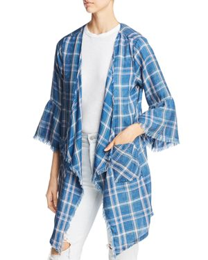 BILLY T Plaid Kimono-Style Jacket in Regal Plaid