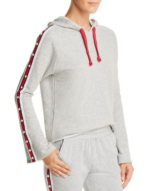GENERATION LOVE Lake Embellished Track Stripe Hooded Sweatshirt in Grey