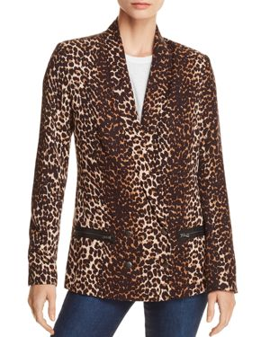 Karissa Double-Breasted Shawl-Collar Leopard-Print Blazer, Natural Leopard