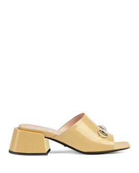 Gucci - Women's Patent Leather Mid-Heel Slide