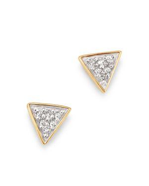 Adina Reyter 14K Yellow Gold Pave Diamond Super Tiny Triangle Stud Earrings