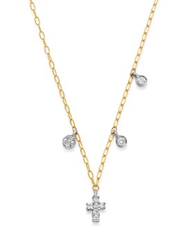 "Meira T - 14K Yellow Gold & 14K White Gold Diamond Cross Adjustable Pendant Necklace, 18"""