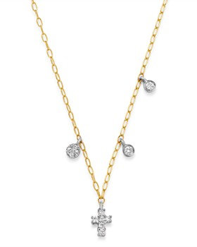 Meira T - 14K Yellow Gold & 14K White Gold Diamond Cross Adjustable Pendant Necklace, 18""