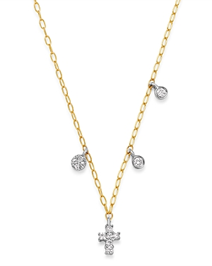 Meira T 14K Yellow Gold & 14K White Gold Diamond Cross Adjustable Pendant Necklace, 18