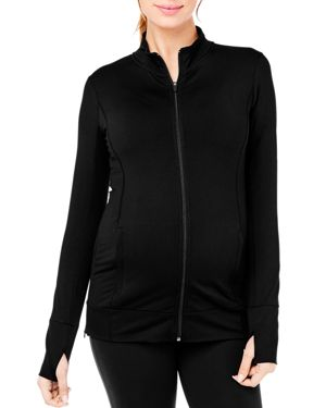 Maternity Side-Zip Active Jacket, Jet Black