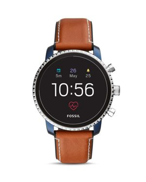 FOSSIL New Q Men'S Explorist Gen 4 Hr Brown Leather Strap Touchscreen Smart Watch 45Mm in Navy