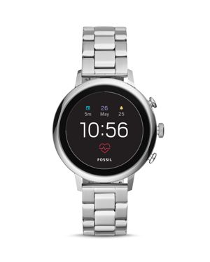 FOSSIL New Q Women'S Venture Gen 4 Hr Stainless Steel Bracelet Touchscreen Smart Watch 40Mm in Silver