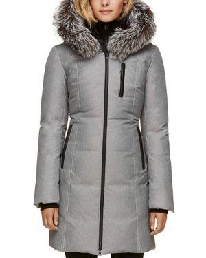SOIA & KYO Fox Fur Trim Down Coat in Ash