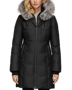 SOIA & KYO Fox Fur Trim Down Coat in Black