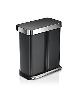 simplehuman - 58-Liter Dual Compartment Rectangular Step Trash Can with Liner Pocket & Recycling Trash Can