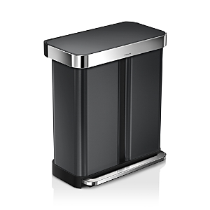 simplehuman 58-Liter Dual Compartment Rectangular Step Trash Can with Liner Pocket & Recycling Trash Can