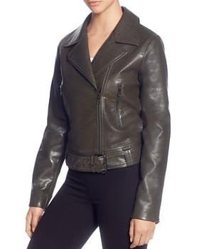 T Tahari - Faux-Leather Moto Jacket