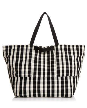 BAGGU Plaid Large Canvas Tote Travel Bag in Black/White Plaid/Silver