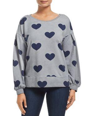 BILLY T Heart Print Lace-Up Back Sweatshirt in All Heart Acid Gray