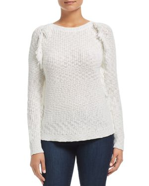 HEATHER B Frayed Shaker Stitch Sweater in Ivory