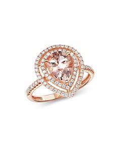 Bloomingdale's - Morganite & Diamond Teardrop Cocktail Ring in 14K Rose Gold - 100% Exclusive