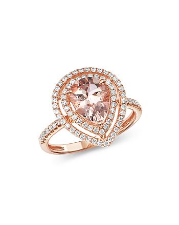 Bloomingdale's - Morganite & Diamond Teardrop Cocktail Ring in 14K Rose Gold - 100% Exclusive