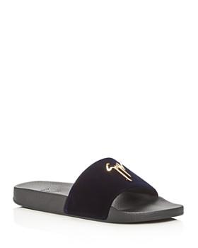 Giuseppe Zanotti - Men's Velvet Logo Slide Sandals