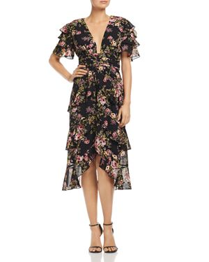 Miranda Tiered Ruffle Dress, Black Tapestry Floral