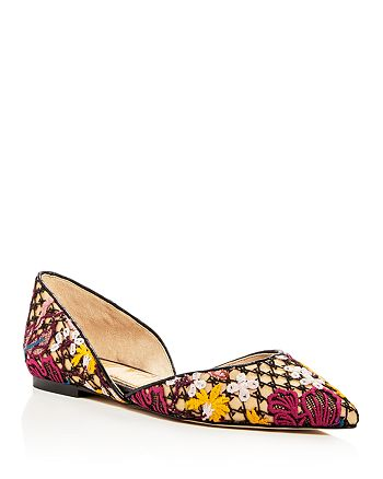 df5a091e249c Sam Edelman Women s Rodney Floral-Embroidered d Orsay Flats ...