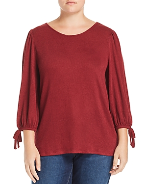 Lucky Brand Plus Bow-Cuff Textured Top