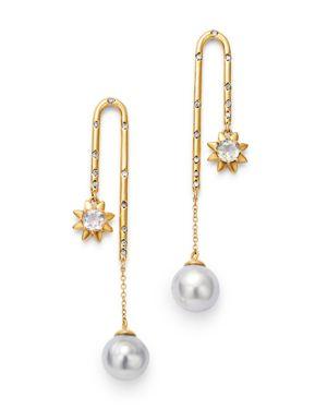 SUEL Blackened 18K Yellow Gold Cosmic Diamond & South Sea Baroque Pearl Drop Earrings in White/Gold
