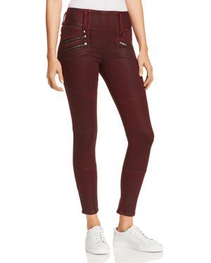 High Rise Moto Zip Skinny Jeans In Port Wax